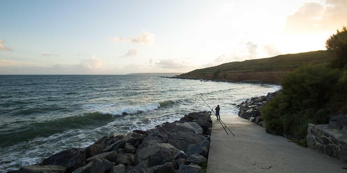 Fishing off Perranuthnoe beach